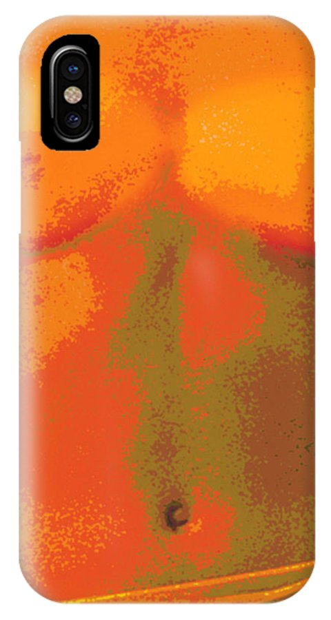 Computer Abstract IPhone X / XS Case featuring the photograph Computer Abstract Of Woman's Torso, Front View by Victor De Schwanberg