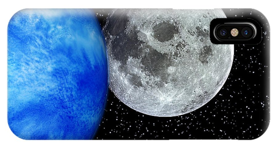 Moon IPhone X / XS Case featuring the photograph Computer Artwork Of Full Moon And Earth's Limb by Julian Baum