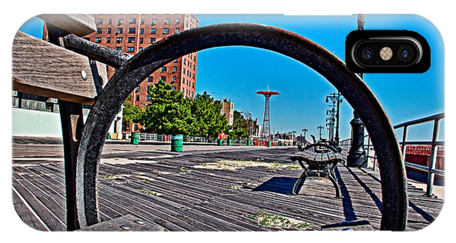 Coney Island Bench View Steeplechase Parachute Jump Skeleton Boardwalk IPhone X Case featuring the photograph Coney Island Bench View by Alice Gipson