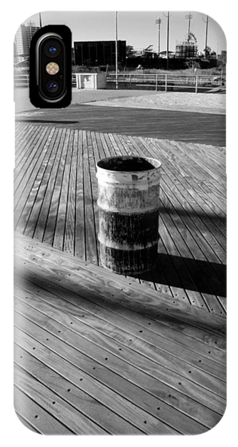 Brooklyn IPhone X Case featuring the photograph Coney Island Boardwalk In Black And White by Rob Hans