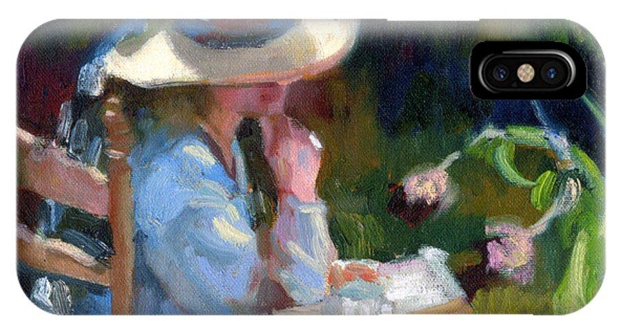 Sally Rosenbaum IPhone X Case featuring the painting Contemplation by Sally Rosenbaum