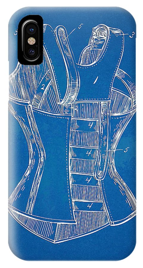 Corset IPhone X Case featuring the digital art Corset Patent Series 1894 by Nikki Marie Smith