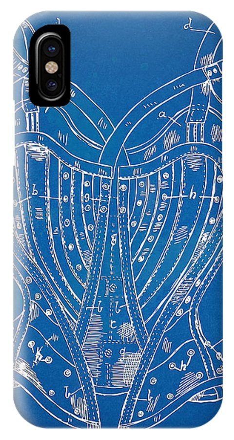 Corset IPhone X Case featuring the digital art Corset Patent Series 1905 French by Nikki Marie Smith