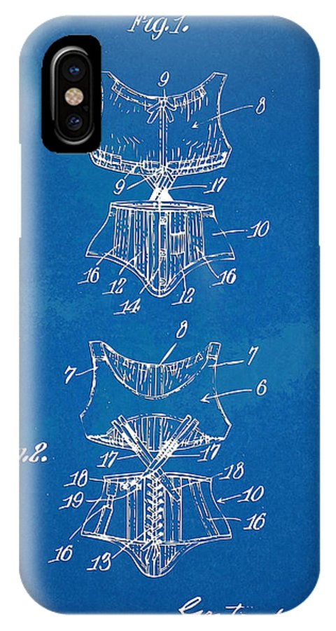 Corset IPhone X Case featuring the digital art Corset Patent Series 1907 by Nikki Marie Smith