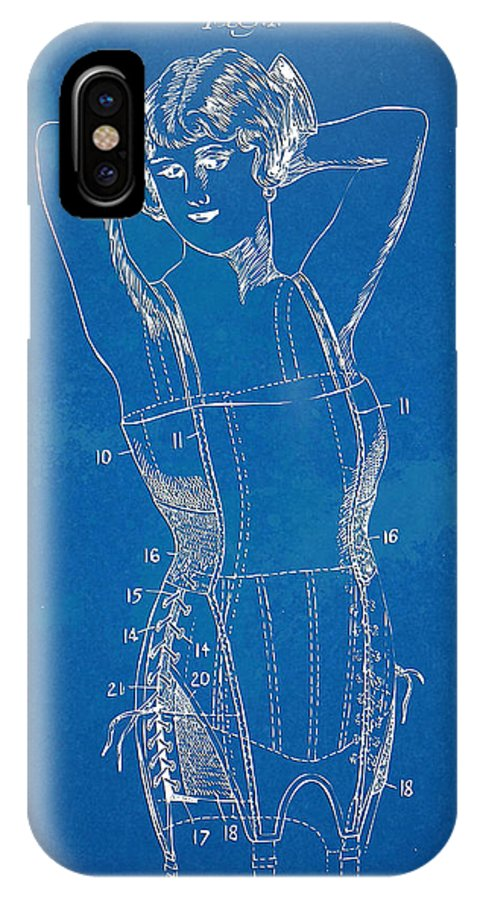 Corset IPhone X Case featuring the digital art Corset Patent Series 1924 Figure 1 by Nikki Marie Smith
