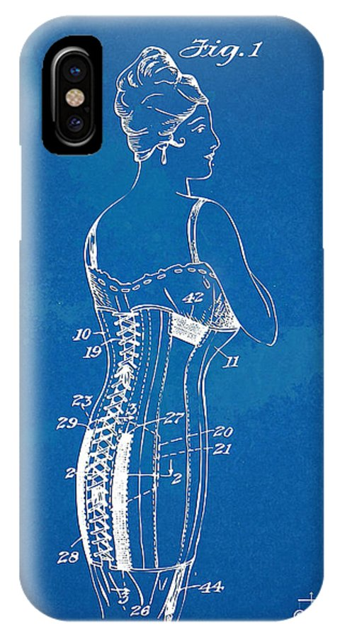 Corset IPhone X Case featuring the digital art Corset Patent Series 1924 by Nikki Marie Smith