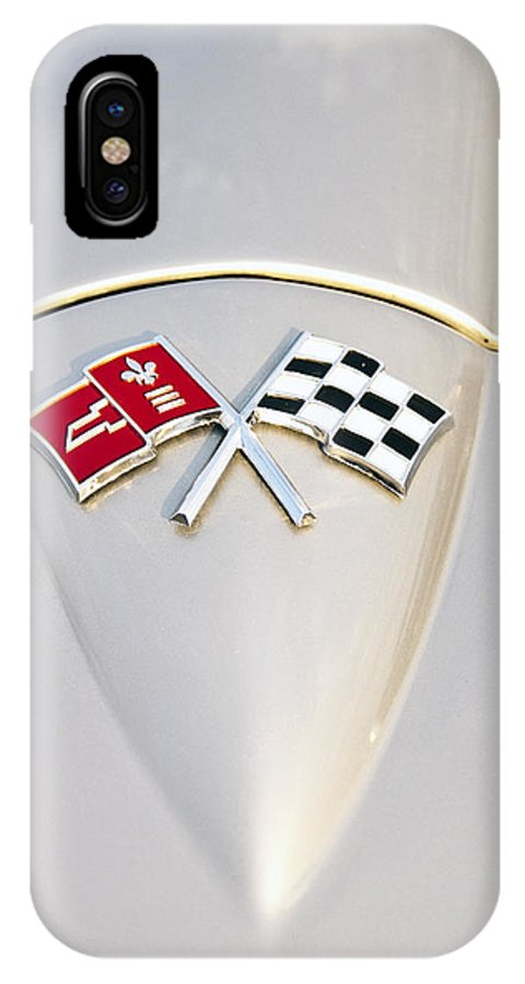 Chevrolet IPhone X Case featuring the photograph Corvette Emblem by Glenn Gordon