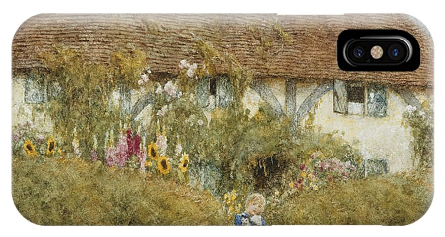 English; Landscape; C19th; C20th; Victorian; Rural; Half-timbered; Flowers; Garden; Child; Girl; Female; Sunflowers IPhone X Case featuring the painting Cottage At West Horsley Surrey by Helen Allingham