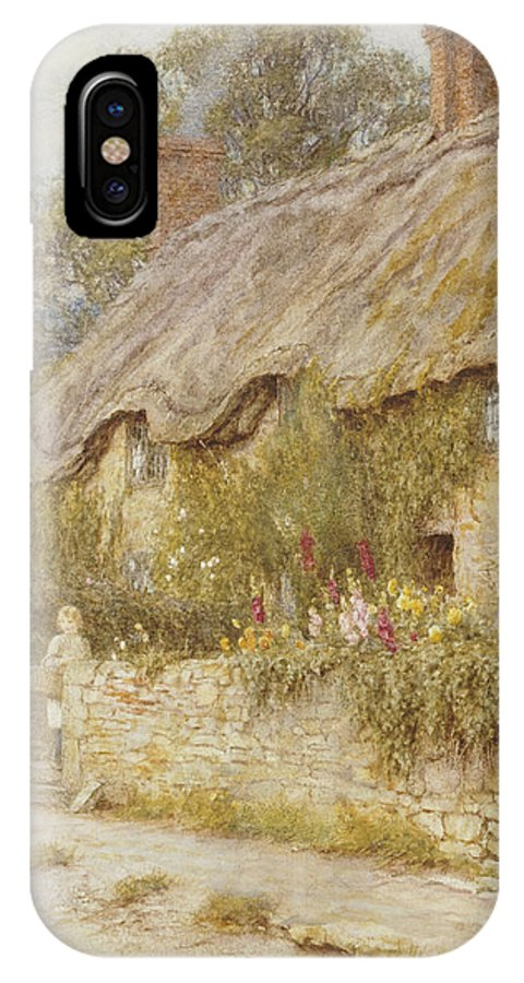Cottage Near Wells IPhone X Case featuring the painting Cottage Near Wells Somerset by Helen Allingham