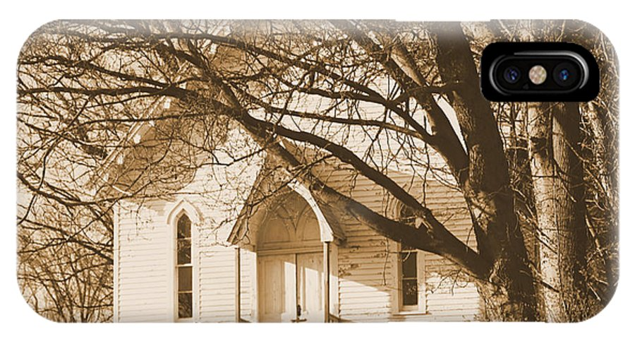 Rocks IPhone X Case featuring the photograph Country Church by Karen Wagner