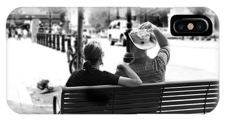 Couple IPhone X Case featuring the photograph Couple Resting On A Downtown Bench On A Windy Day by Gray Artus