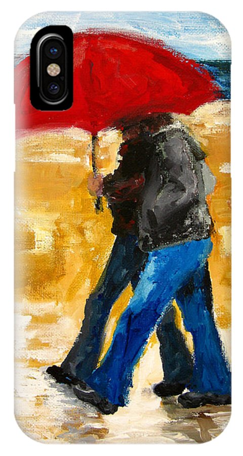 Couple Walking Under A Red Umbrella At The Beach IPhone X Case featuring the painting Couple Under A Red Umbrella by Patricia Awapara