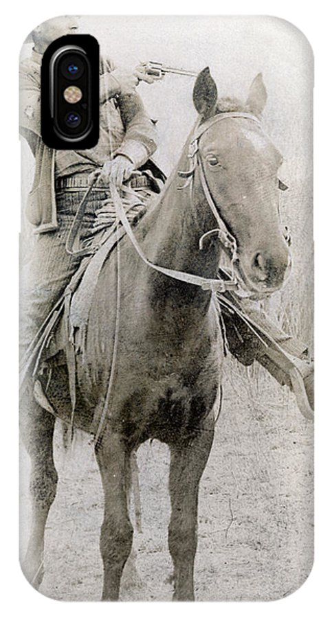 1900 IPhone X Case featuring the photograph Cowboy Robber, C1900 by Granger