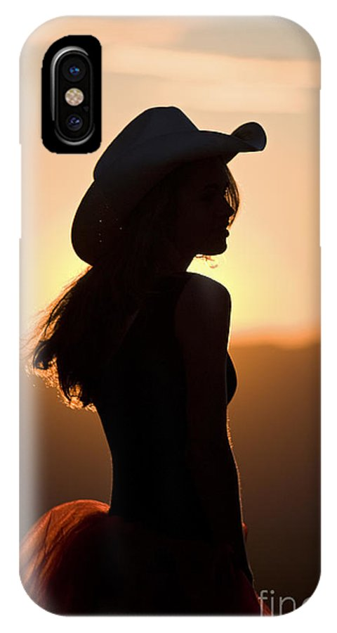 Cowgirl IPhone X Case featuring the photograph Cowgirl Silhouette by Cathy Gregg