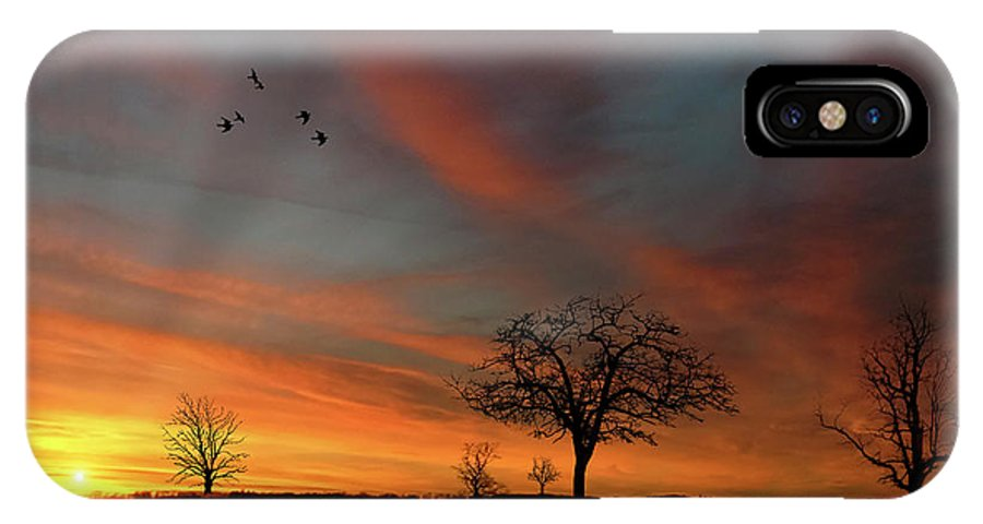 Endre IPhone X Case featuring the photograph Created Sunset by Endre Balogh
