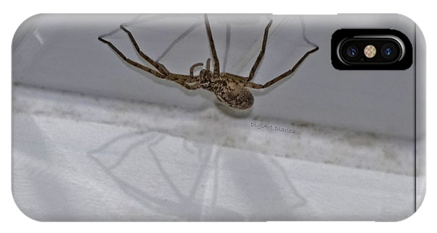 Spider IPhone X Case featuring the photograph Creepy Shadows by DigiArt Diaries by Vicky B Fuller