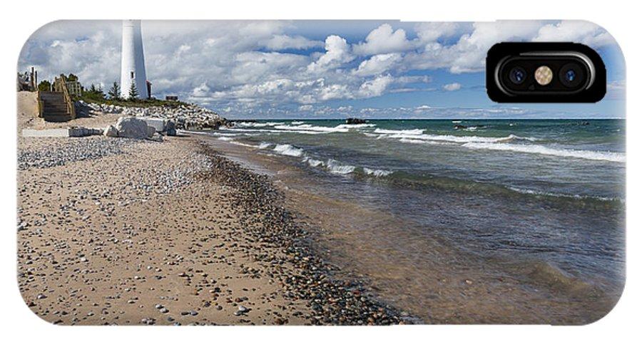 Crisp IPhone X Case featuring the photograph Crisp Point Lighthouse 13 by John Brueske