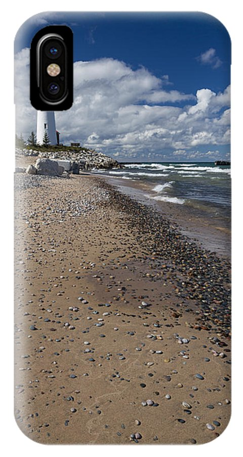 Crisp IPhone X Case featuring the photograph Crisp Point Lighthouse 14 by John Brueske