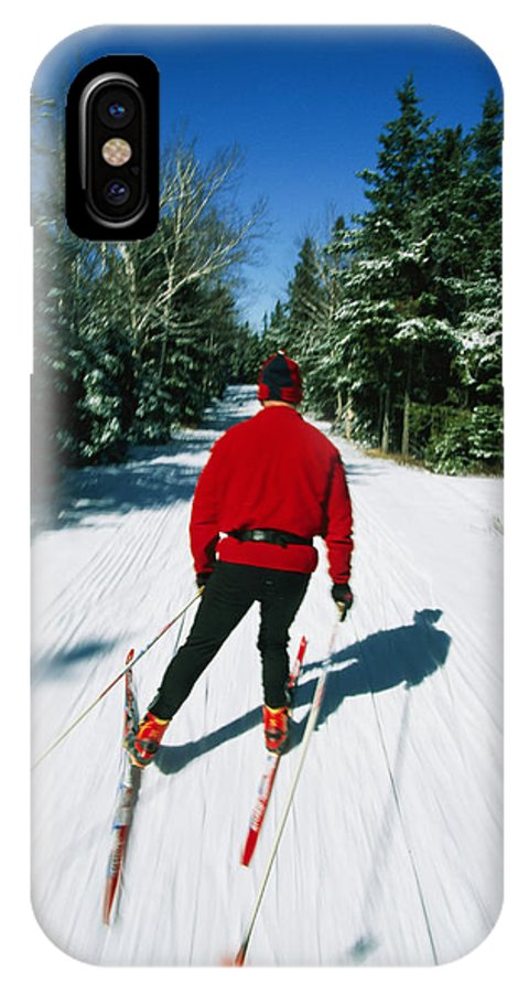 Sports IPhone X / XS Case featuring the photograph Cross-country Skiing, Lake Placid, New by Skip Brown