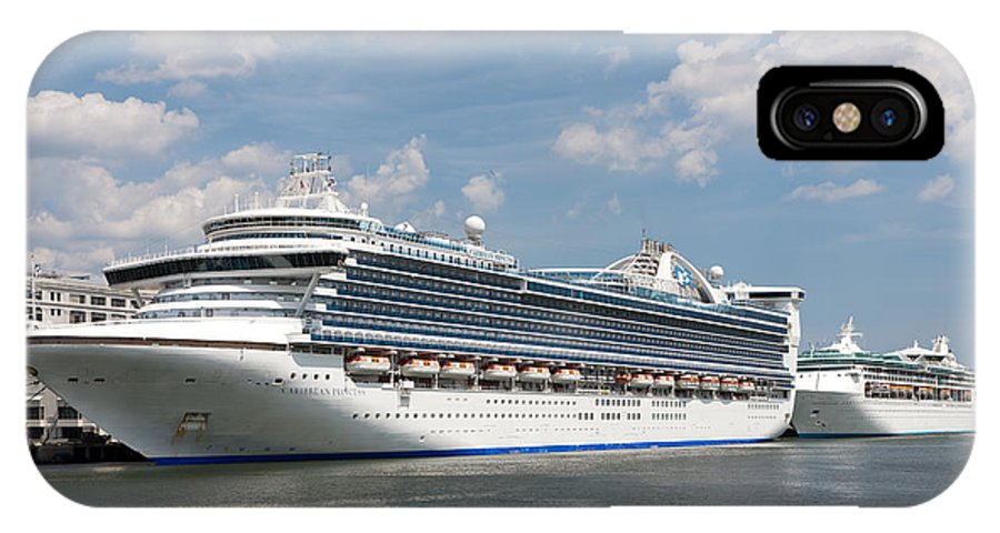 Clarence Holmes IPhone X Case featuring the photograph Cruise Ships At Cruiseport Boston by Clarence Holmes