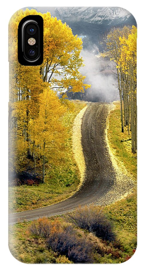 Aspens IPhone X Case featuring the photograph Cutting Through The Aspens by Dave Mills