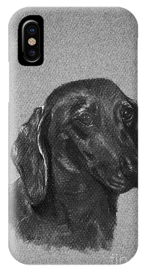 Dog IPhone X / XS Case featuring the drawing Dachshund by Susan Herber