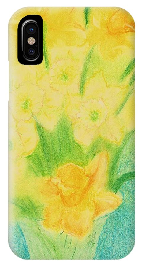 Floral - Spring Flowers -- Daffodils IPhone X Case featuring the pastel Daffodils by Jami Cirotti