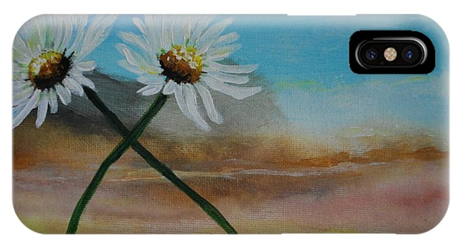 Daisy IPhone X Case featuring the painting Daisy Mates by Leslie Allen