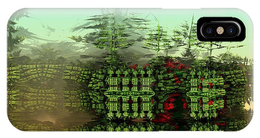 Digital Digital Art IPhone X Case featuring the digital art Dancing Trees On Alien Cliffs by Richard Ortolano