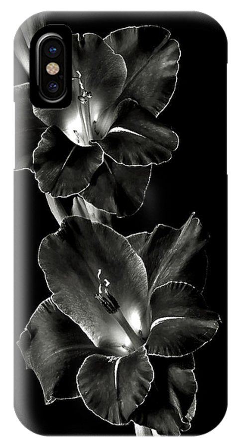 Flower IPhone X Case featuring the photograph Dark Gladiolas In Black And White by Endre Balogh