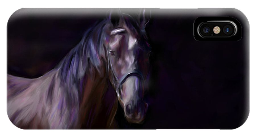 Horse IPhone X Case featuring the painting Dark Horse by Michelle Wrighton