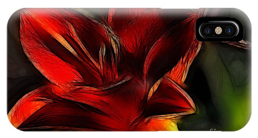 Fine Art Photography IPhone X Case featuring the photograph Day Lily Fractal by Donna Greene