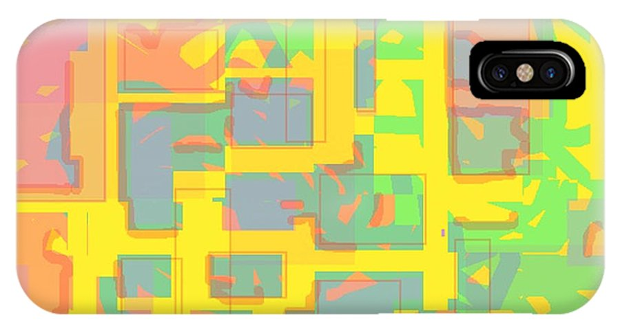 Bright IPhone X / XS Case featuring the painting Dayglo Hieroglyphics by Naomi Jacobs