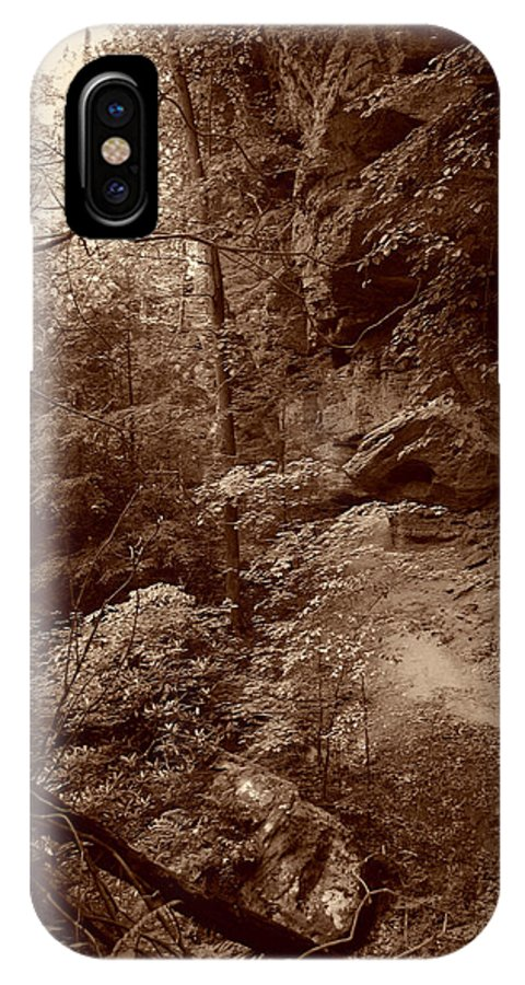 Cliff IPhone X Case featuring the photograph Deep In The Woods by Nina Fosdick