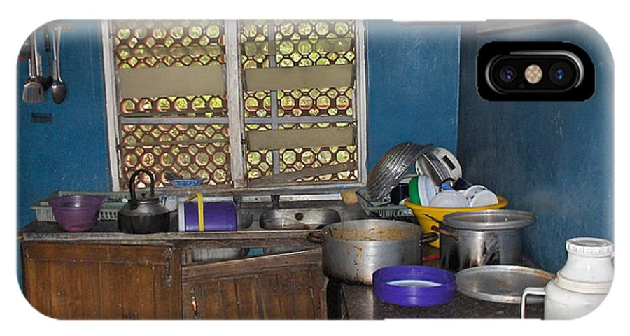 Kitchen IPhone X Case featuring the photograph Dirty Dishes Nigeria by Amy Hosp