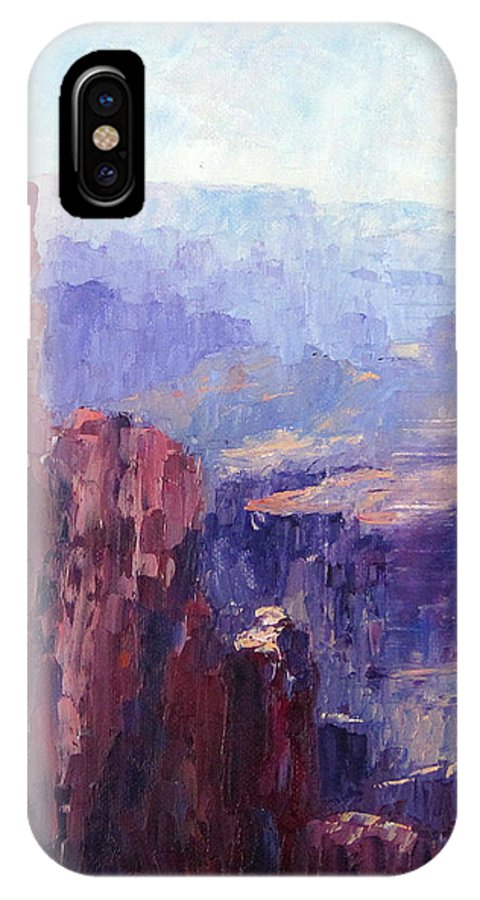 Grand Canyon IPhone X / XS Case featuring the painting Distance by Terry Chacon