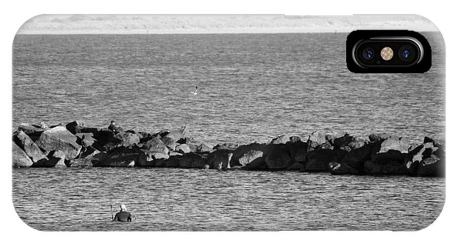Brooklyn IPhone X Case featuring the photograph Diving Coney Island In Black And White by Rob Hans