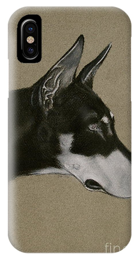 Dobe IPhone X / XS Case featuring the drawing Doberman by Susan Herber