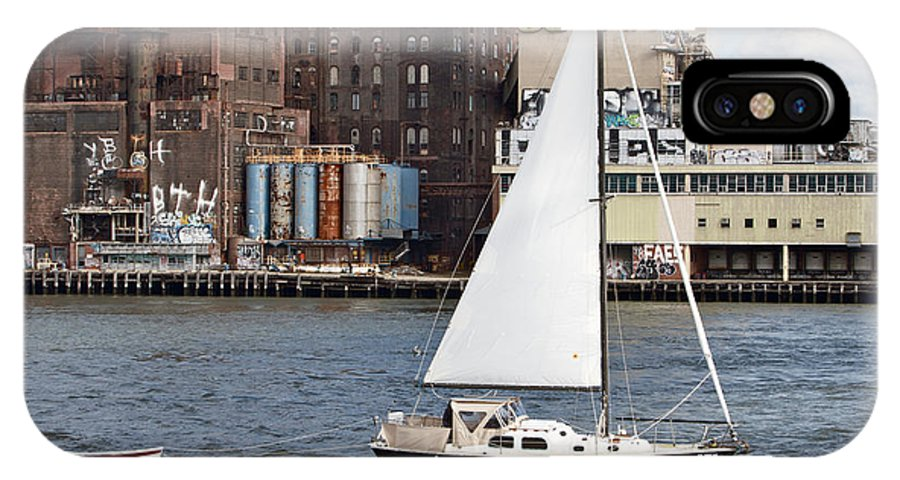 Sail Boat Domino Sugar Water View New York City IPhone X Case featuring the photograph Domino Sugar Sailing by Alice Gipson