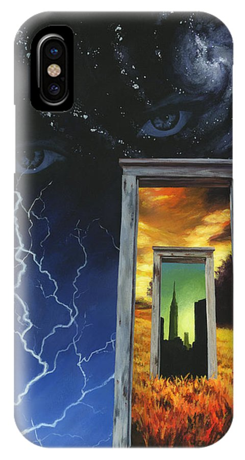 Door IPhone X Case featuring the painting Door To The Sky by Don Michael Jr
