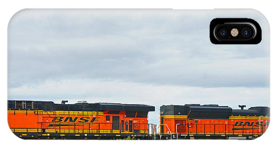 Trains IPhone X Case featuring the photograph Double Bnsf Engines by Randy Harris