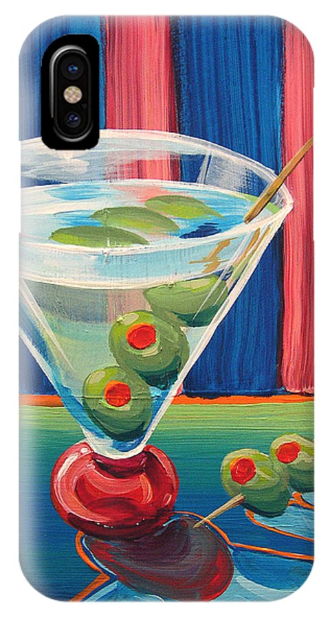 Painting IPhone X Case featuring the painting Double Dirty Martini by Michael Baum