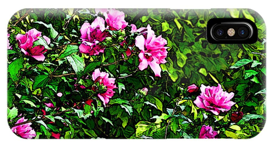 Nature IPhone X Case featuring the digital art Double Rose Of Sharon by Debbie Portwood