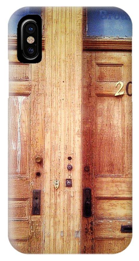 Doors IPhone X Case featuring the digital art Doubledoor by Olivier Calas