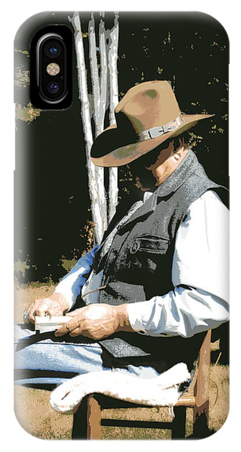 Western IPhone X / XS Case featuring the digital art Down Time by Tina Meador