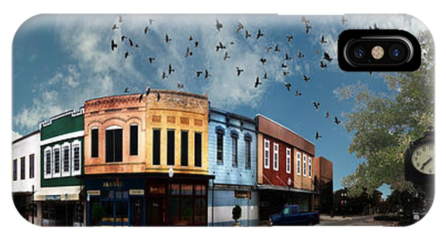 Bryan IPhone X Case featuring the digital art Downtown Bryan Texas 360 Panorama by Nikki Marie Smith