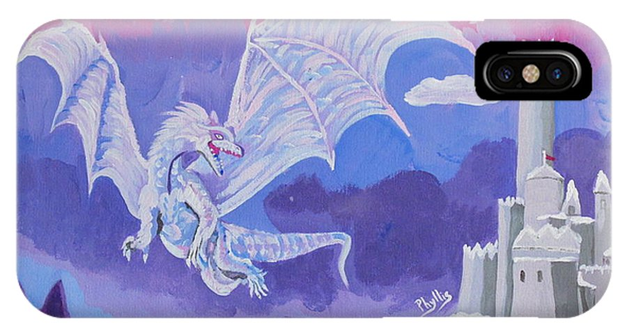 Dragon IPhone X Case featuring the painting Dragon Castle by Phyllis Kaltenbach