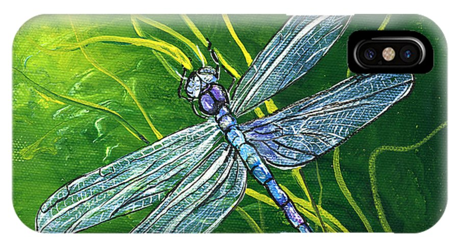 Bug IPhone X Case featuring the painting Dragonfly by Sherry Shipley