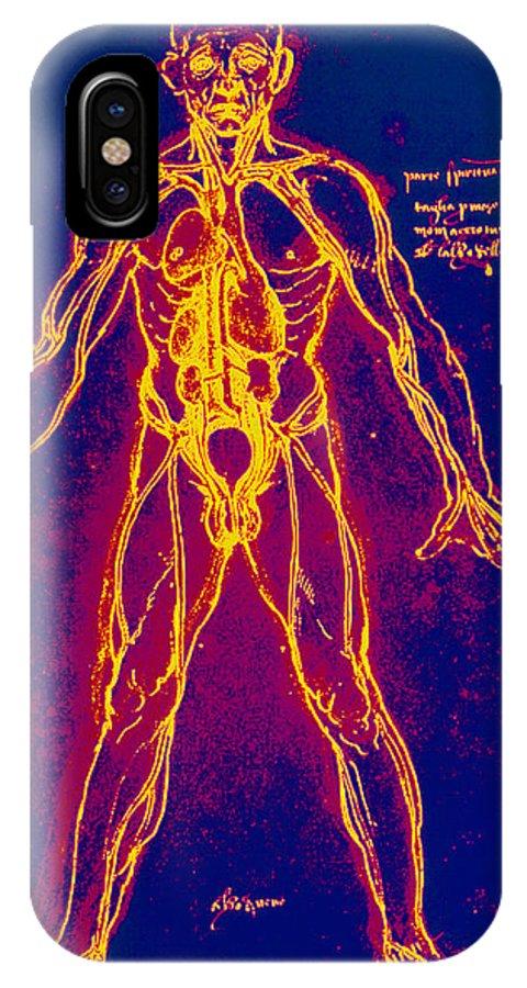Venous Circulation IPhone X Case featuring the photograph Drawing Of Human Venous System (leonardo Da Vinci) by Mehau Kulyk