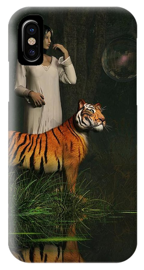 Tiger IPhone X / XS Case featuring the digital art Dreams Of Tigers And Bubbles by Daniel Eskridge